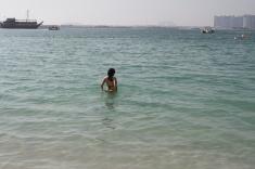 Taking a soak in the warm water